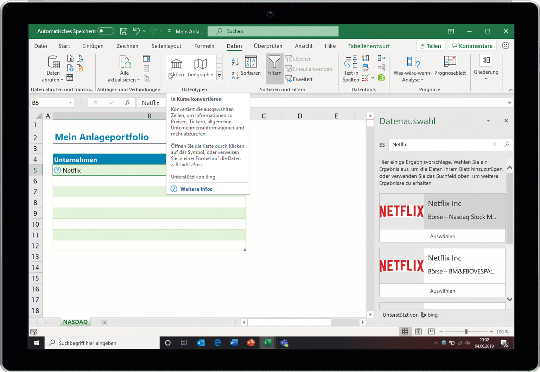 """Screenshot des Excel-Datentyps """"Aktien"""""""