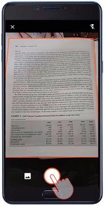 Εικόνα ενός τηλεφώνου Android που καταγράφει μια εικόνα και συλλέγει δεδομένα του Excel από την εικόνα.