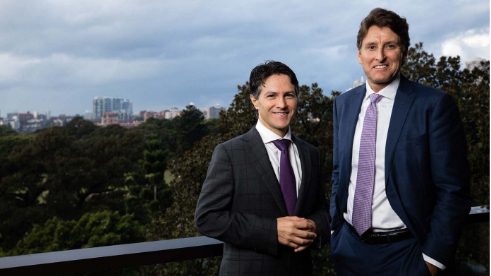 NSW Minister of Finance, Services and Property, Victor Dominello, and Steven Worrall, managing director of Microsoft Australia.