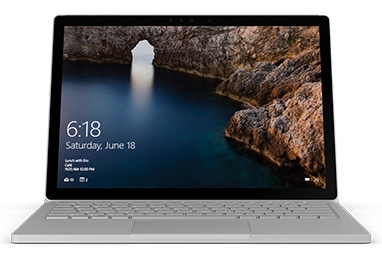 Surface Book with a Windows start screen