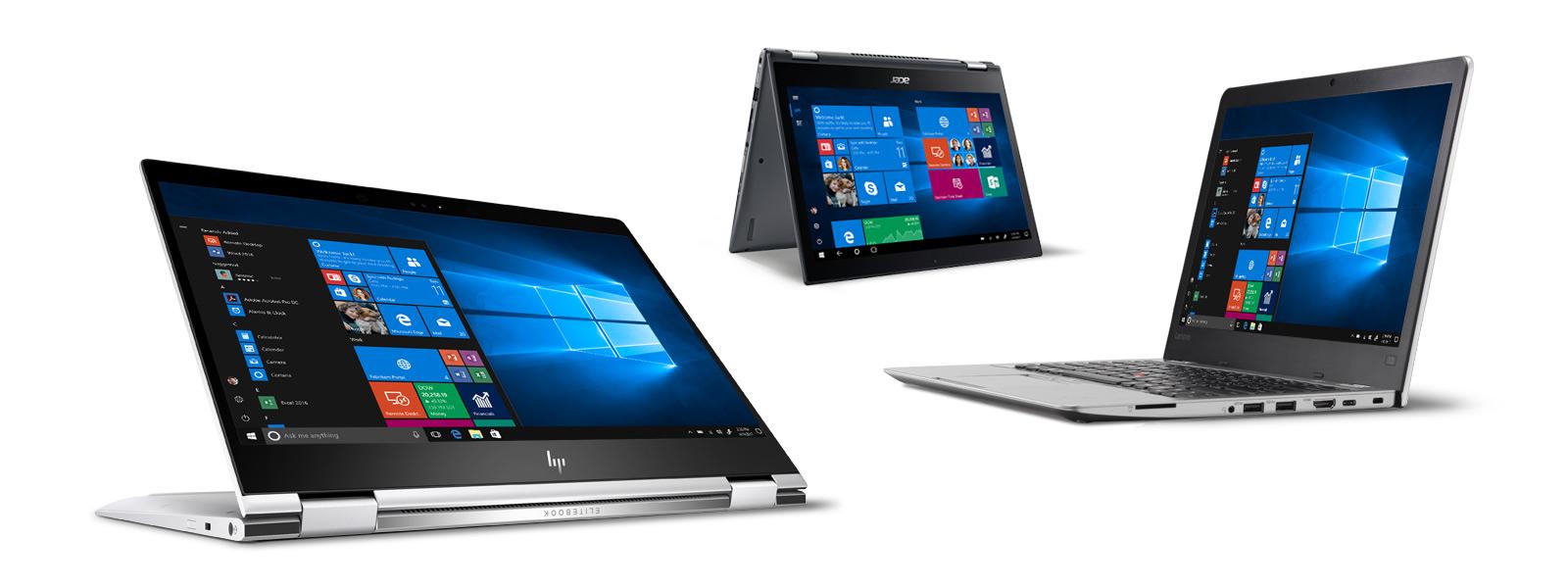 Various laptops displaying Windows 10