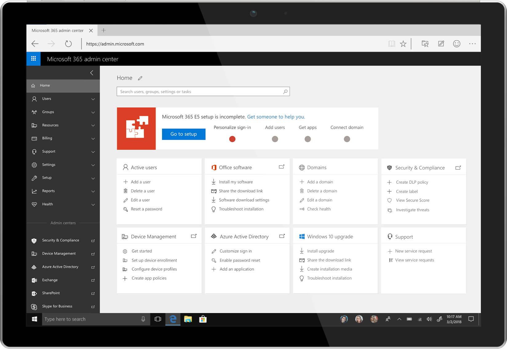 Image of a tablet showing the Microsoft 365 admin center.