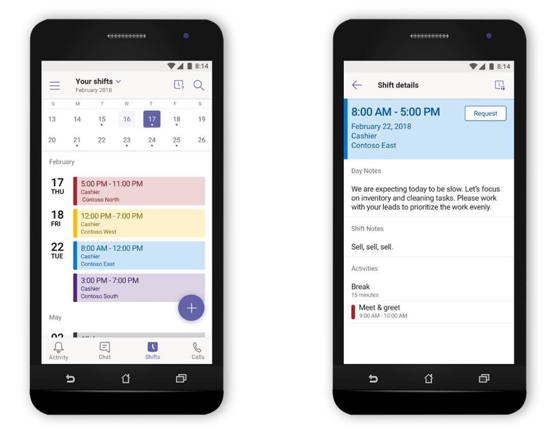 An image of two phones side by side displaying the Shifts feature in Microsoft Teams.