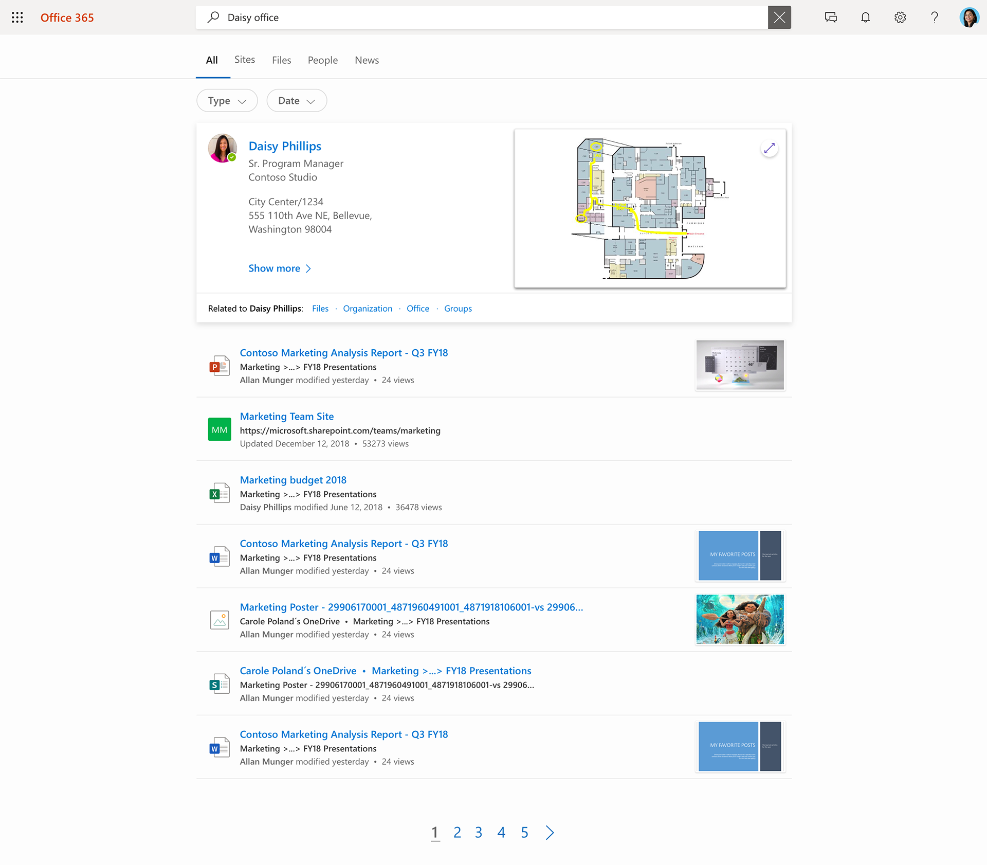 Image of Microsoft Search. A user typed in Daisy office and contacts, files, and sites showed up in her list.