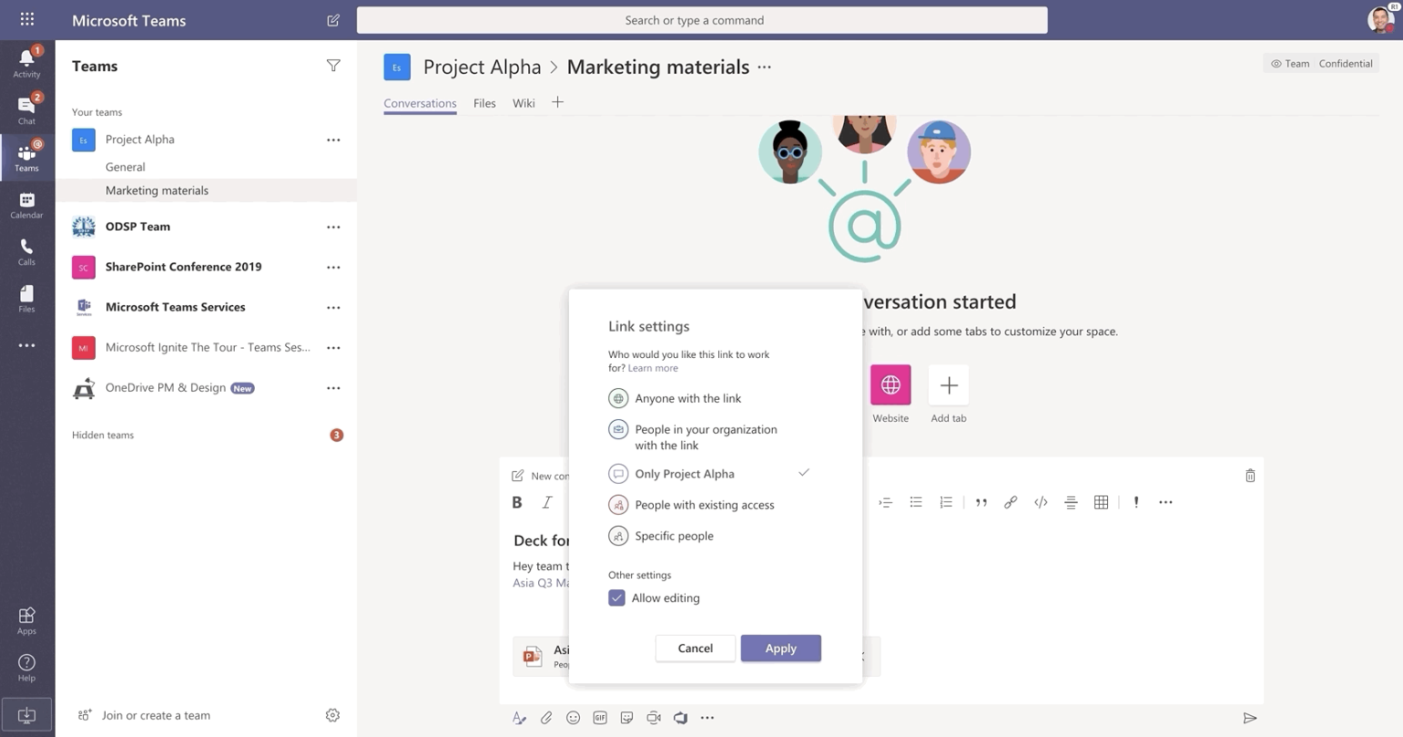 Image of a conversation in Microsoft Teams.
