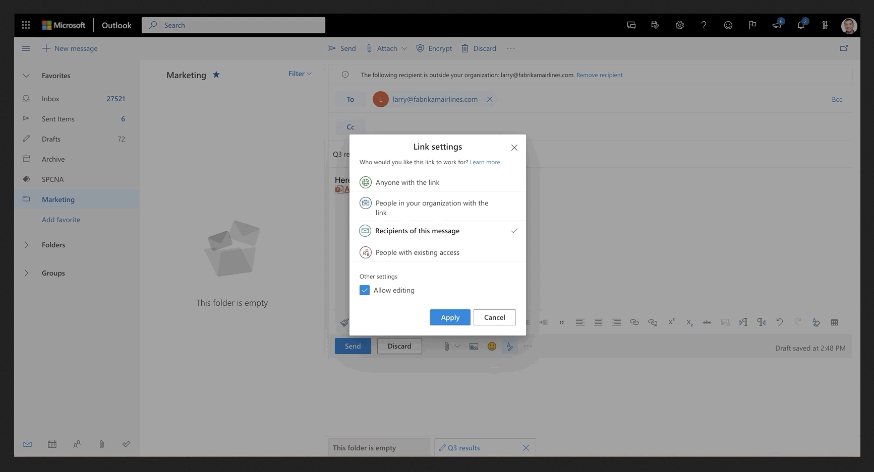 Image of a file shared in Outlook.