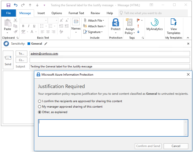 Screenshot of Microsoft Azure Information Protection requiring justification for a classified email.