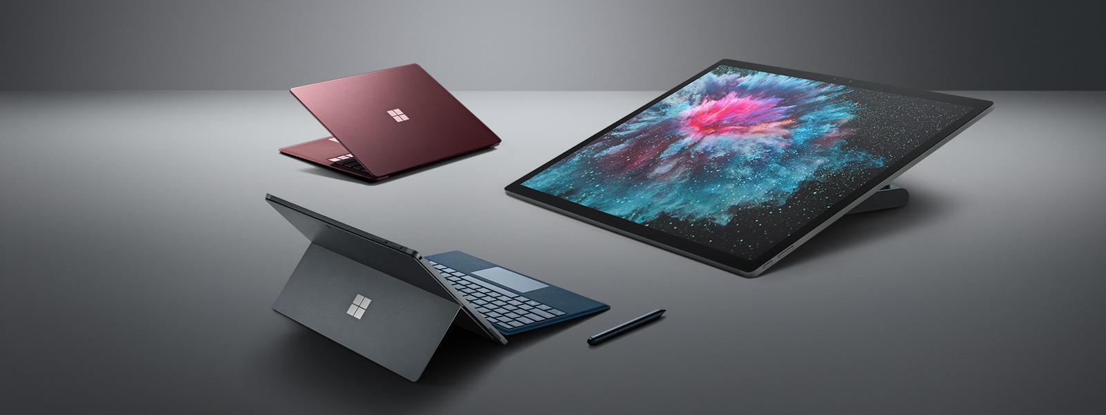 Surface Pro 6, Surface Laptop 2, Surface Studio 2