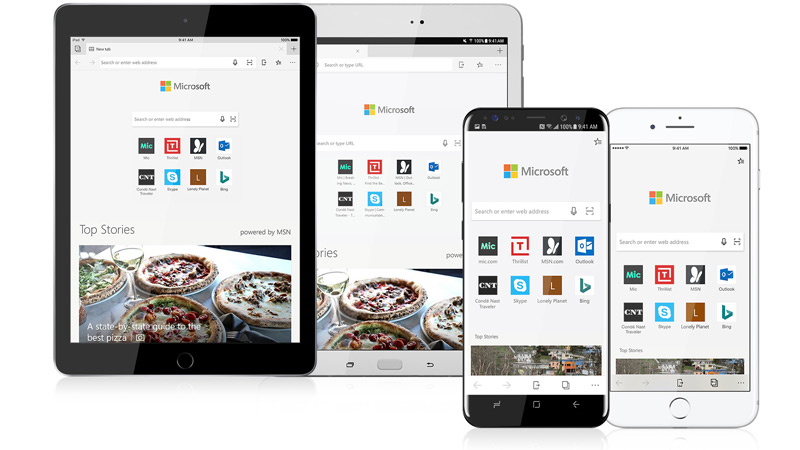 Images of iOS and Android tablets and phones with the Edge browser on the screens