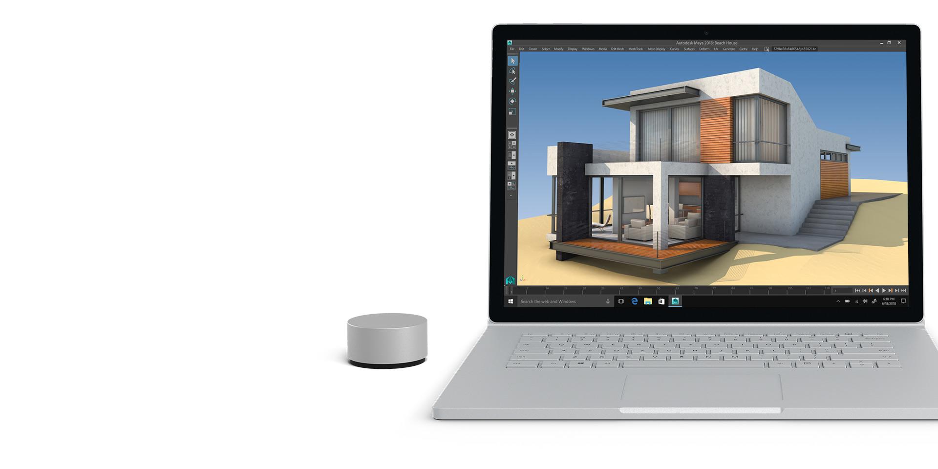 Autodesk Maya on a Surface Book 2 display