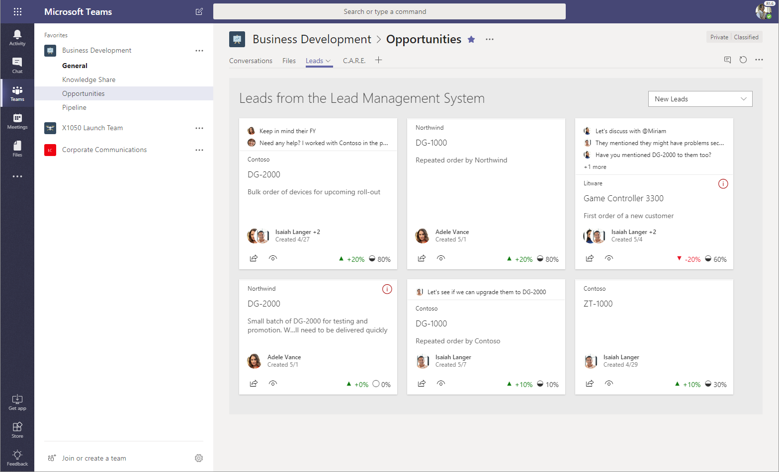 Image of a custom lead management system SharePoint Framework web part, hosted in Microsoft Teams.