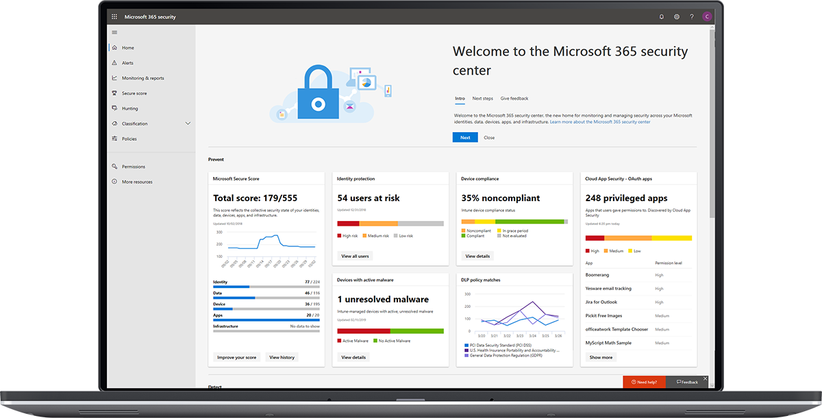 Image of the Microsoft 365 security center dashboard.