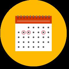 Calendar with a few days circled