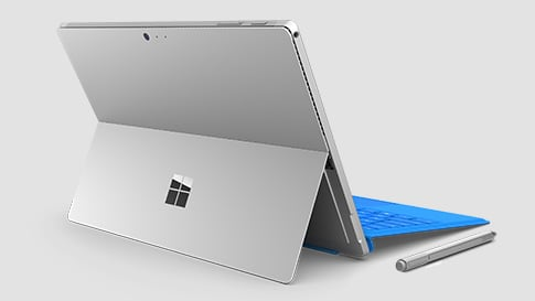 Rear-facing image of Surface Pro 4 with blue keyboard and pen.