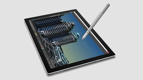 Image of Surface Pro 4 and pen in tablet mode without keyboard.