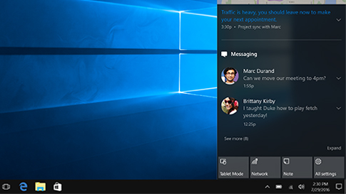 Windows 10 action centre