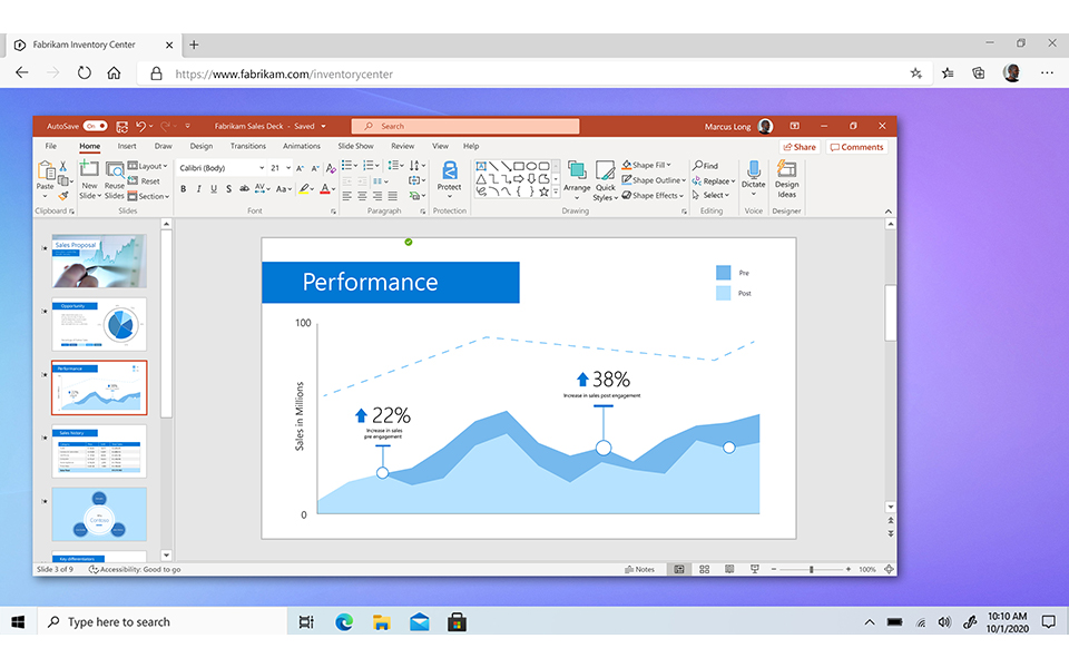 Personalized: Windows 365 is your Windows 10 or Windows 11 personalized experience--including your apps like PowerPoint--streamed from the cloud to any device.