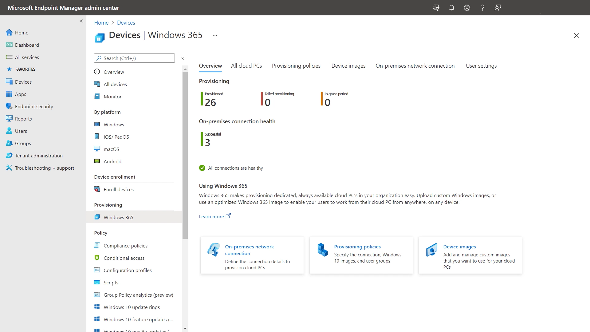 Familiar tools: You can manage your Cloud PCs alongside your physical devices right within Microsoft Endpoint Manager.