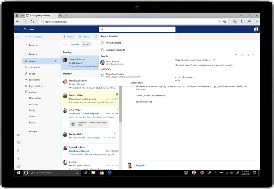 Image of the search function in Office 365.