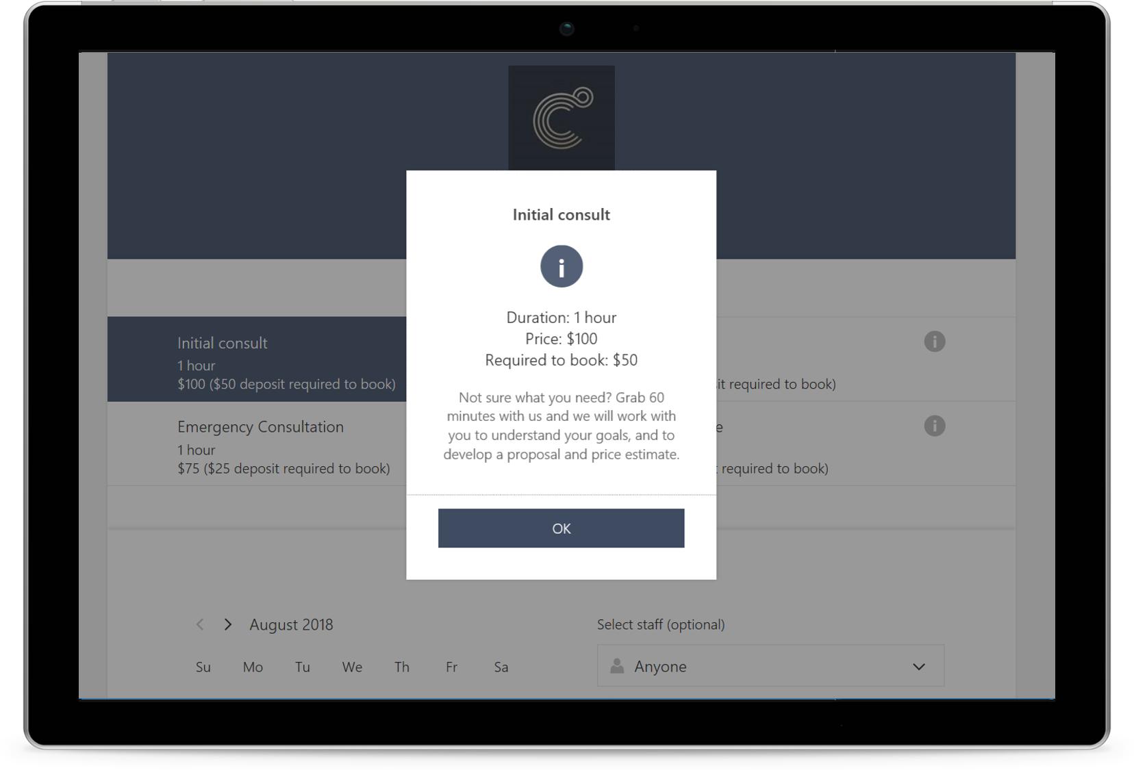 A screenshot displays a booking made in Microsoft Bookings.