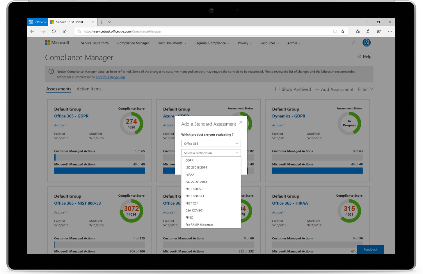 Image shows the Compliance Manager on a tablet.