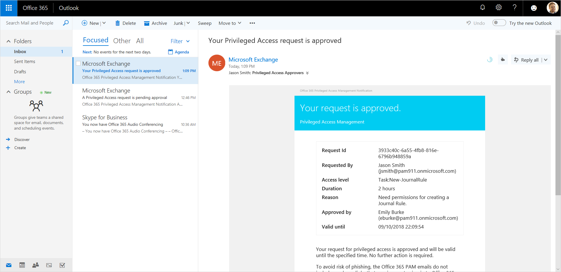 Image shows an approved Privileged Access request in Outlook.