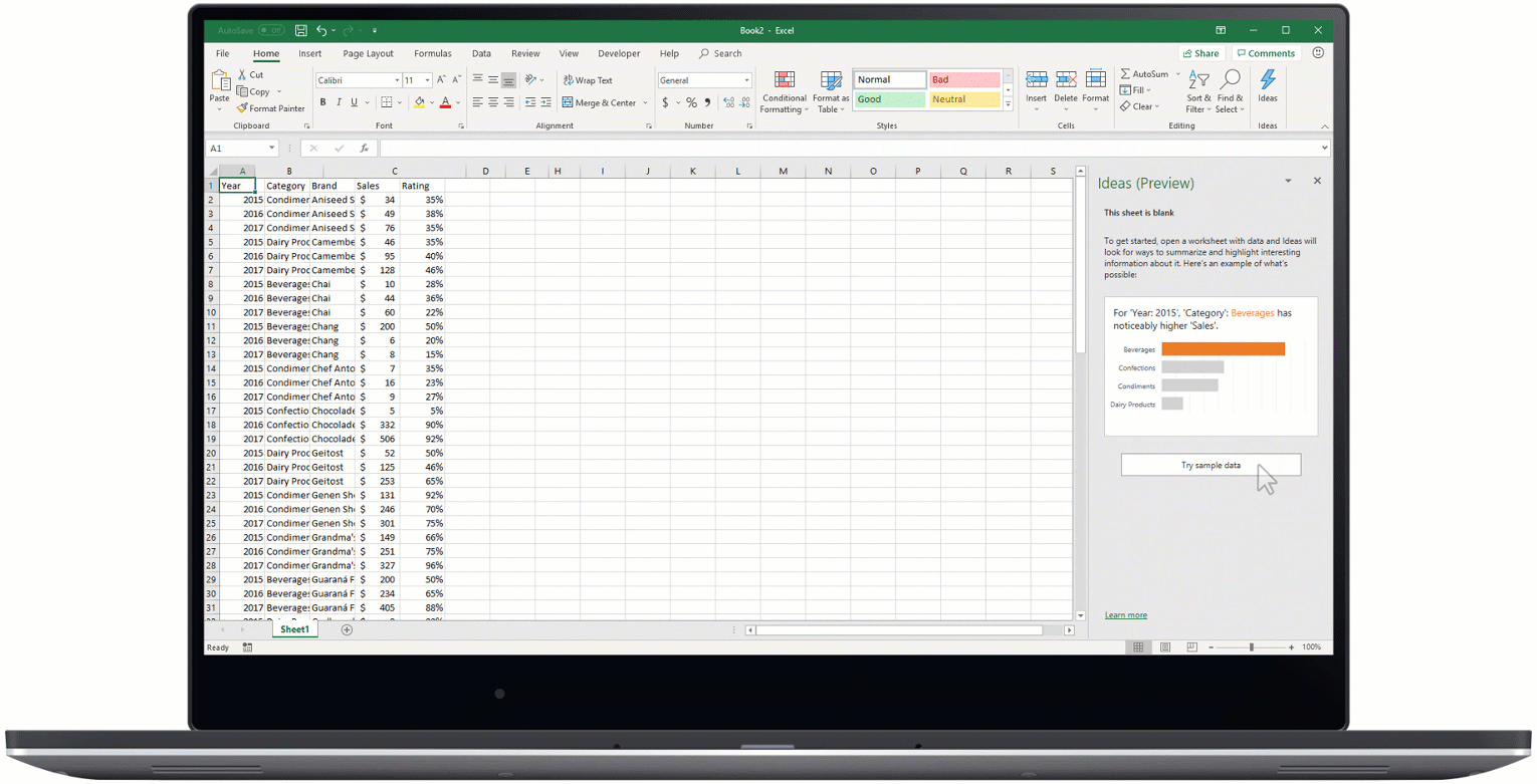 An animated image shows Ideas in Excel.