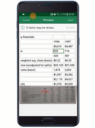 An animated image shows Insert Data from Picture being used on a mobile device.