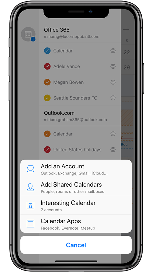 Image of a mobile device adding a Shared Calendar in Outlook mobile.