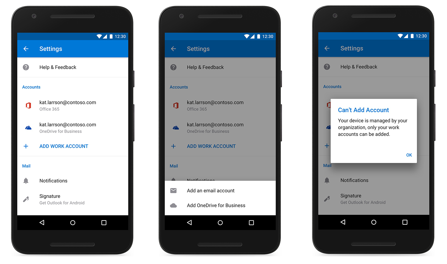 Image of three devices showing an account added in Outlook mobile.