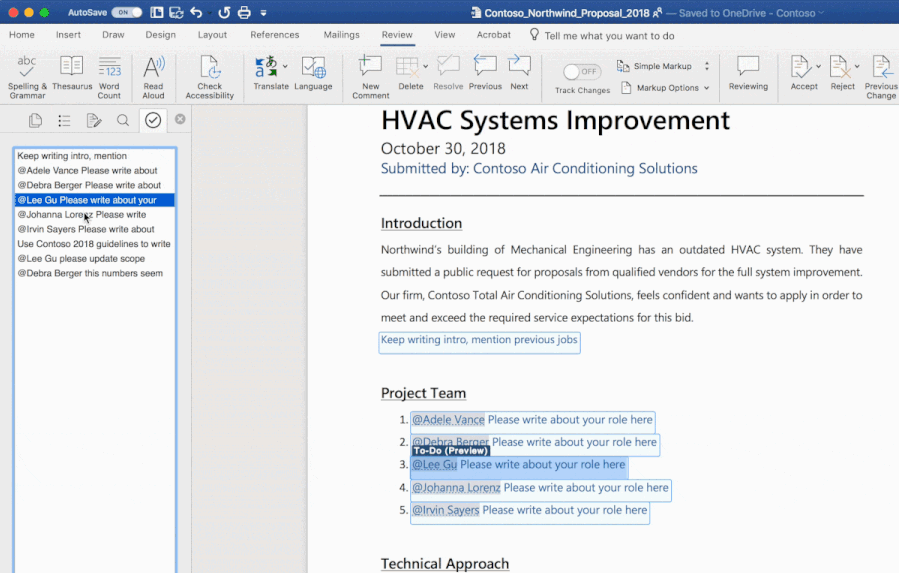 Screenshot of a Word document open using the AI-powered To-Do feature.