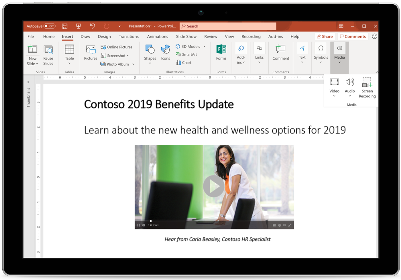 Image of a tablet displaying PowerPoint slide.