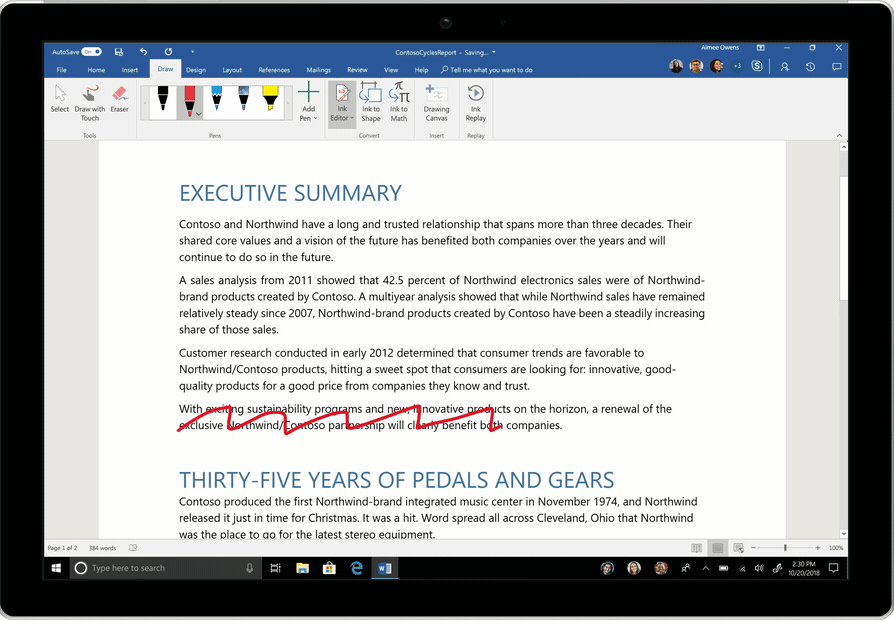 Image of Ink Editor being used in a Word document. A paragraph is deleted, a word inserted, and a space added.