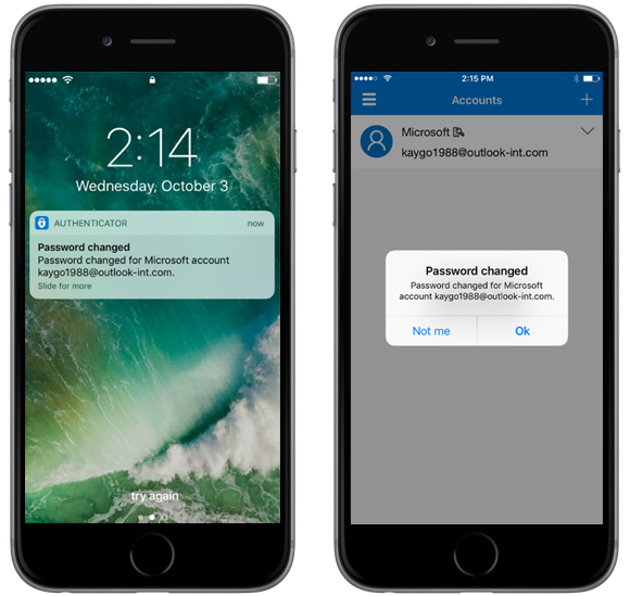 Image of two phones showing a password being changed in Microsoft Authenticator.