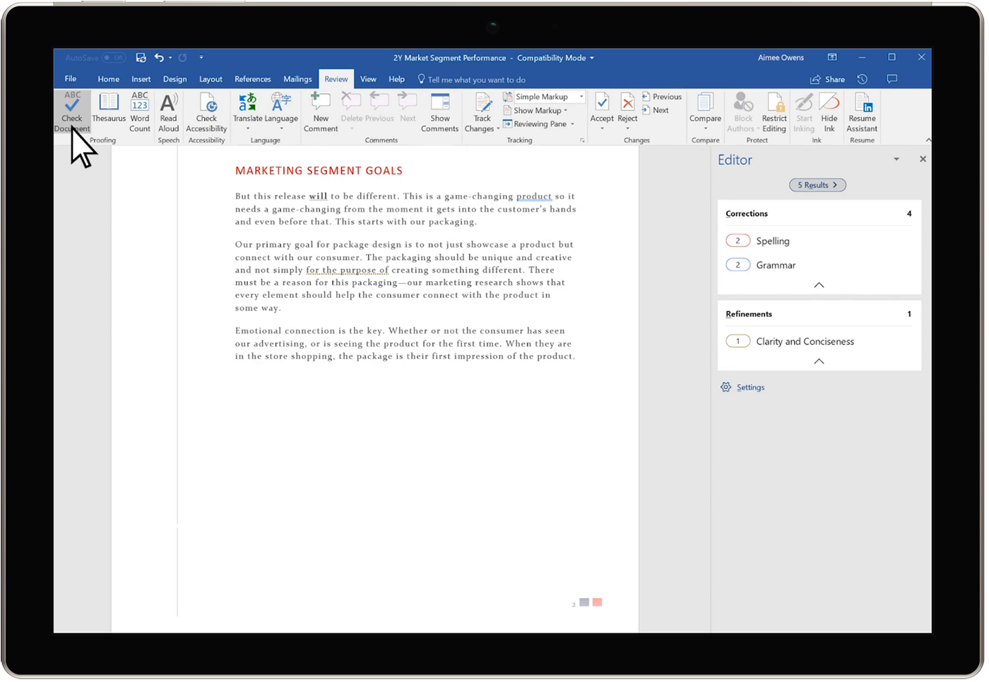 Image of the Editor Overview pane in a Word document.