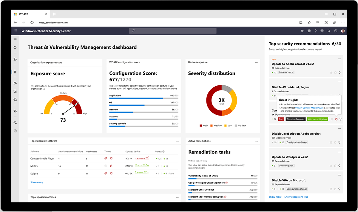 Image showing the Windows Defender Security Center dashboard.