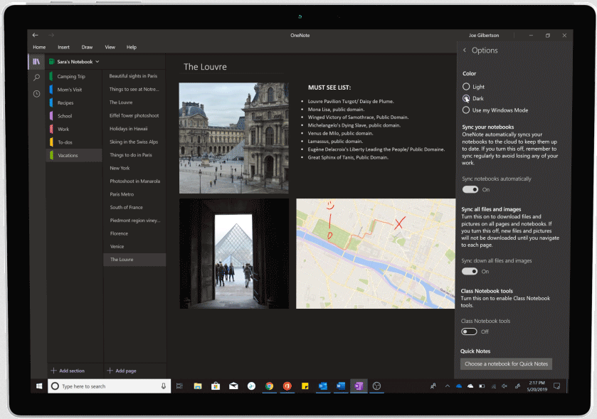 Screenshot of Dark Mode used in OneNote.