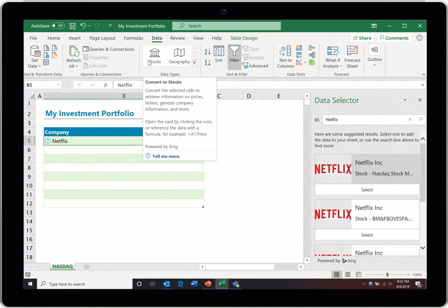 Screenshot of the Stocks Data Type in action in Excel.