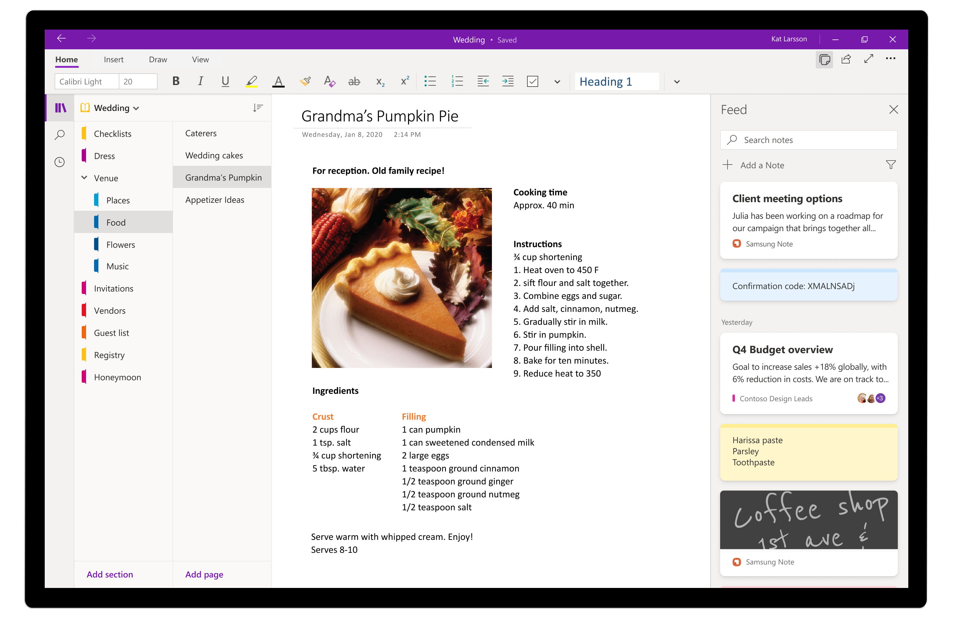 This image shows how you can reference your notes in a OneNote page and capture any new thoughts by creating a Sticky Note in your feed without leaving OneNote.