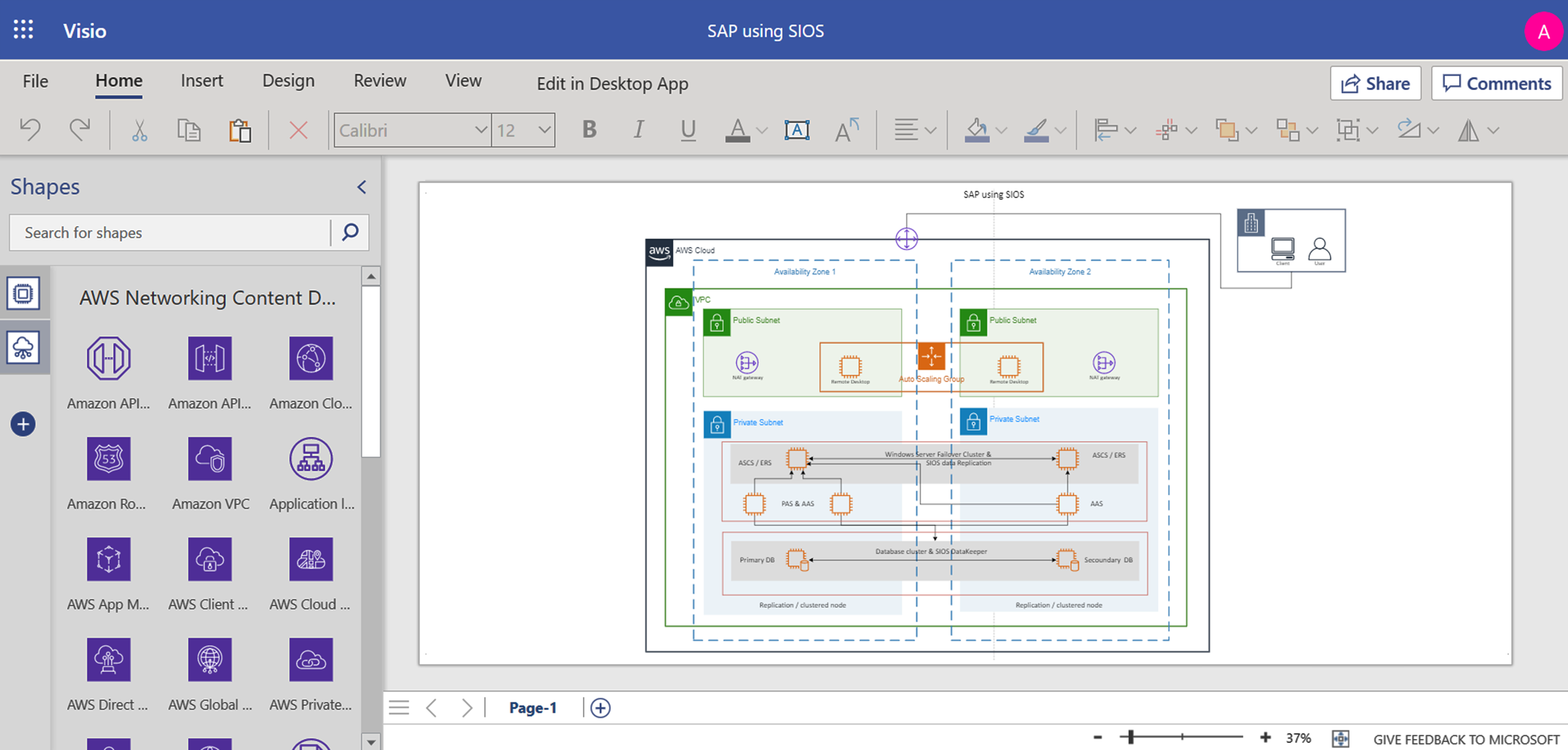This image shows a screen shot diagram of SAP using SIOS.