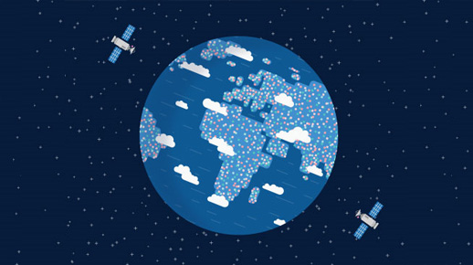 2 satellites circling the earth