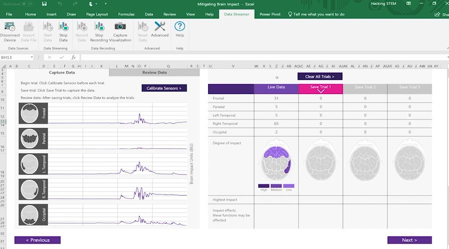 Screenshot of a brain impact workbook using Data Streamer in Excel