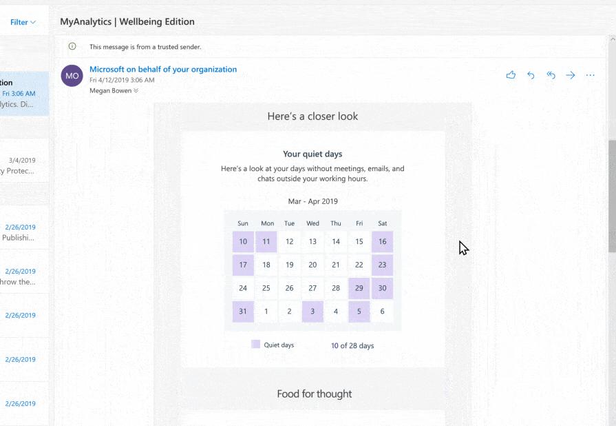 Screenshot of MyAnalytics in Outlook.