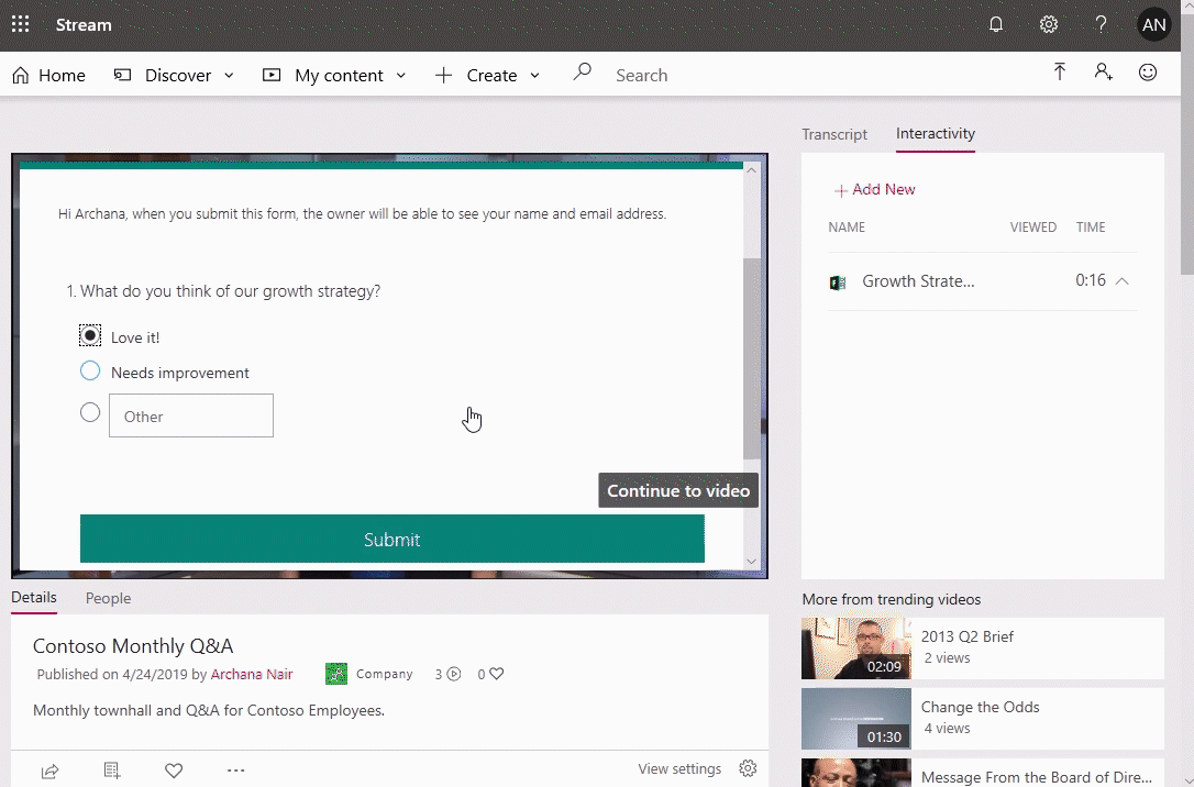 Screenshot of a video being played in Microsoft Stream.