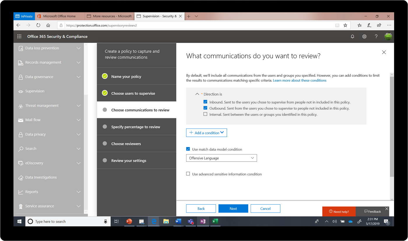 Screenshot of the Office 365 Security & Compliance center.