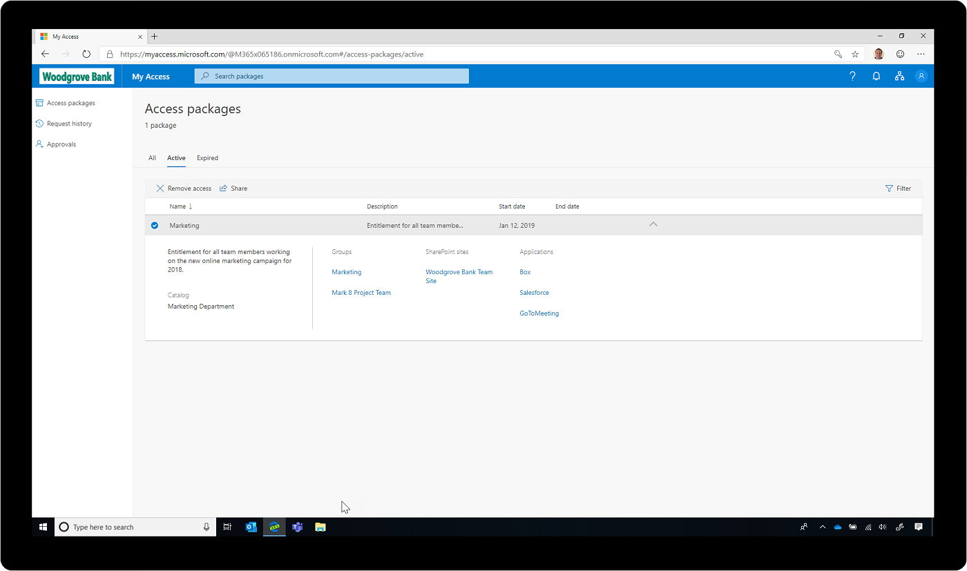 Screenshot of access packages in Azure Active Directory.