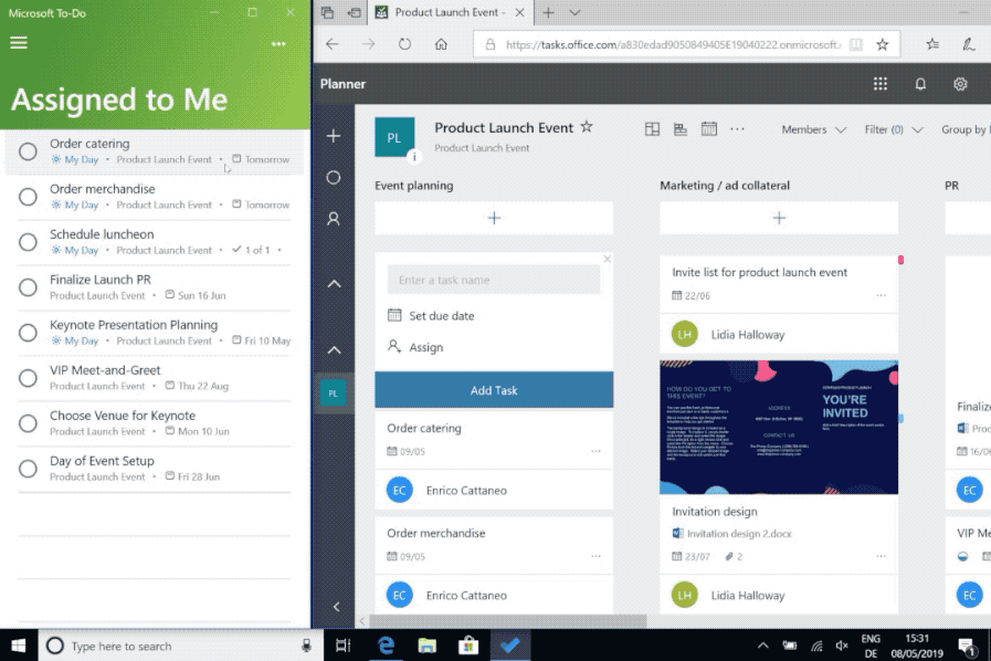 Screenshot of Microsoft To-Do and Planner integration.