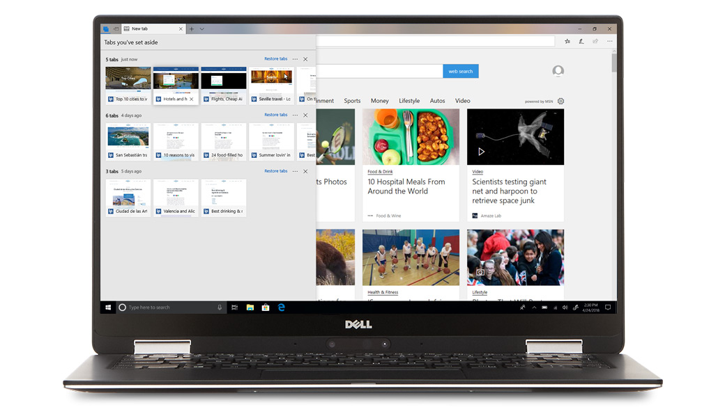 Dell computer showing multiple browser tabs in Microsoft Edge
