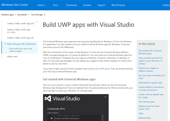 Develop Universal Windows Platform Apps with Visual Studio