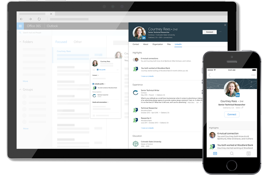 LinkedIn profile information shown from Outlook, on both a phone and tablet.